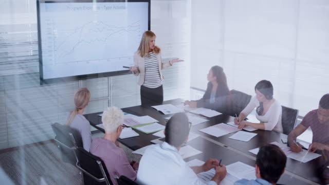 Schwangere Frau finanzielle Präsentation für ihre Kollegen im Konferenzraum