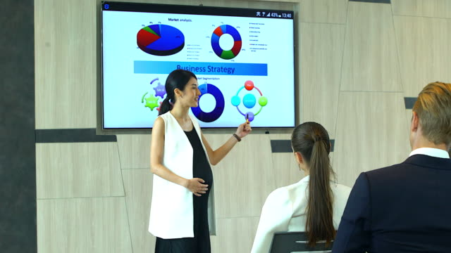 pregnant woman presenting to group of business people during seminar or meeting about there performance. - business people in a row stock videos & royalty-free footage