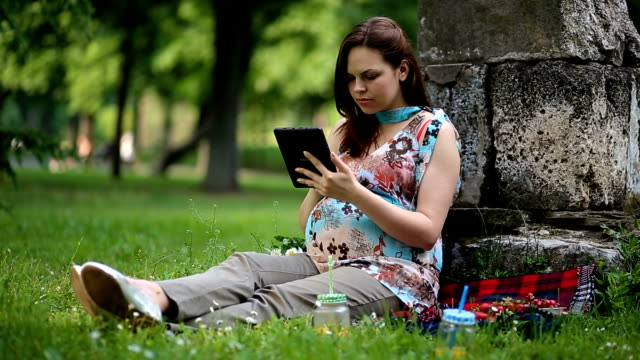 Pregnant Woman Relaxing Outdoors