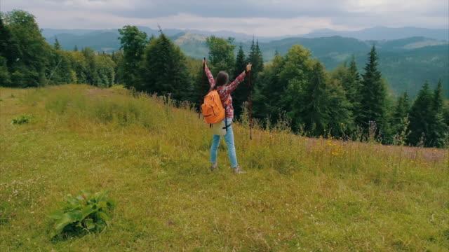 vídeos y material grabado en eventos de stock de mujer embarazada de pie con bastones para caminatas en el borde de la montaña - bastón de senderismo