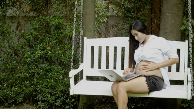 pregnant woman using laptop - persuasion stock videos and b-roll footage