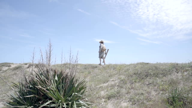 w/s pregnant woman walking in a beach (summer), steadycam - カタルーニャ州点の映像素材/bロール
