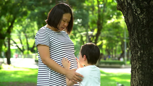 Pregnant woman with child outdoors. Mother and son on nature backgrounds in summer park. Little child boy hugging mother, who pregnant for the second time. Pregnancy, new life, family, parenthood concept.
