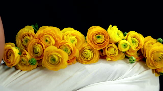 pregnant woman with yellow roses - navel stock videos & royalty-free footage