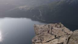 Preikestolen or Pulpit Rock seen from the top, Norway