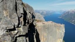Preikestolen. Pulpit Rock at Lysefjorden in Norway. 4K