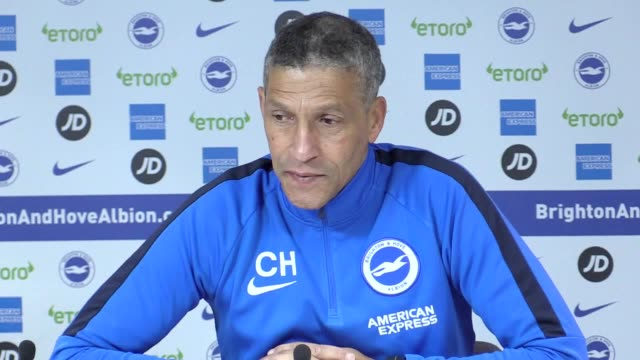 prematch press conference with brighton manager chris hughton and defender bruno saltor ahead of their fa cup match against west brom - sportliga stock-videos und b-roll-filmmaterial