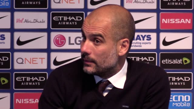 prematch press conference with man city manager pep guardiola ahead of their premier league match against middlesbrough guardiola discusses gabriel... - middlesbrough stock videos and b-roll footage