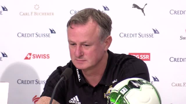 Prematch press conference with manager Michael O'Neill and captain Steven Davis ahead of the Northern Ireland v Switzerland World Cup qualifying...