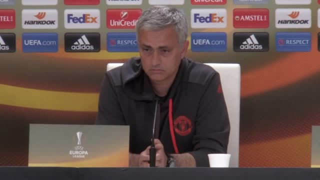 Prematch press conference with Manchester United manager Jose Mourinho and player Antonio Valencia ahead of their UEFA Europa League Semifinal...