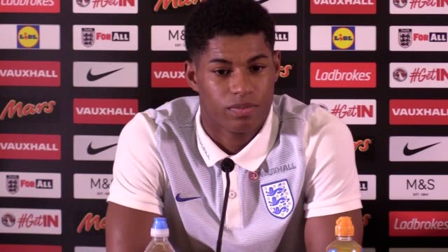 prematch press conference with marcus rashford ahead of england's world cup qualifier versus scotland on june 10 - world cup qualifying round stock videos and b-roll footage