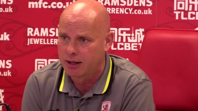 prematch press conference with middlesbrough interim head coach steve agnew ahead of saturday's premier league trip to bournemouth - middlesbrough stock videos and b-roll footage