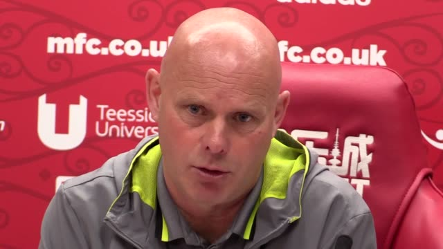prematch press conference with middlesbrough interim head coach steve agnew ahead of monday's premier league trip to chelsea - middlesbrough stock videos and b-roll footage