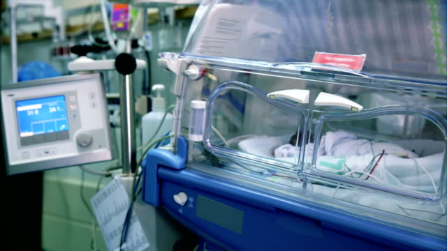 prematurely born infant lying in incubator - nursery bedroom stock videos & royalty-free footage
