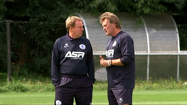 2014/15 season preview england london harlington ext harry redknapp on training pitch with new coach glenn hoddle/ harry redknapp press conference sot - glenn hoddle stock videos & royalty-free footage