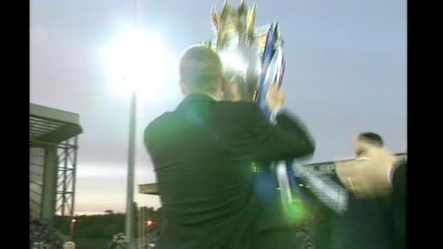 Alan Shearer package DATE ENGLAND Blackburn Ewood Park EXT Shearer lifts Premier League trophy with Blackburn Rovers