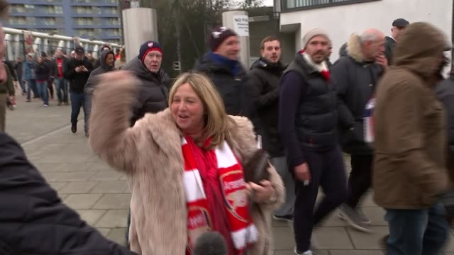 Arsenal and Tottenham Hotspur in title contention ENGLAND London Emirates Stadium EXT Vox pop Absolutely brilliant we're going to win the league now