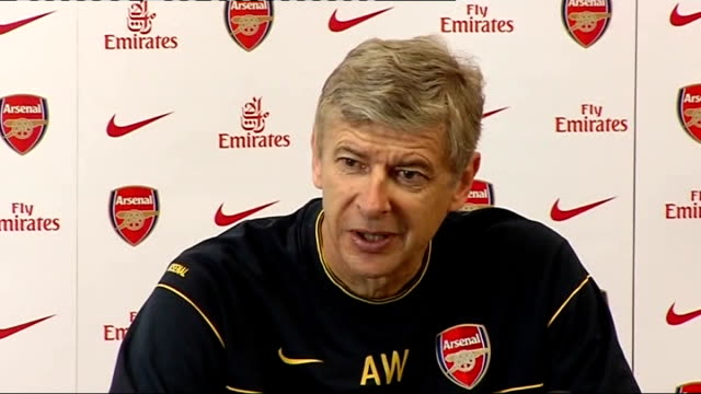 Arsenal Arsene Wenger press conference ENGLAND Hertfordshire London Colney training ground INT Arsene Wenger press conference SOT discusses Arsenal's...