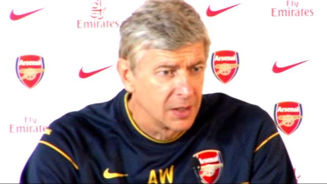 Arsenal press conference ENGLAND London Emirates Stadium INT Arsene Wenger enters press conference Wenger press conference SOT Excited as much as...