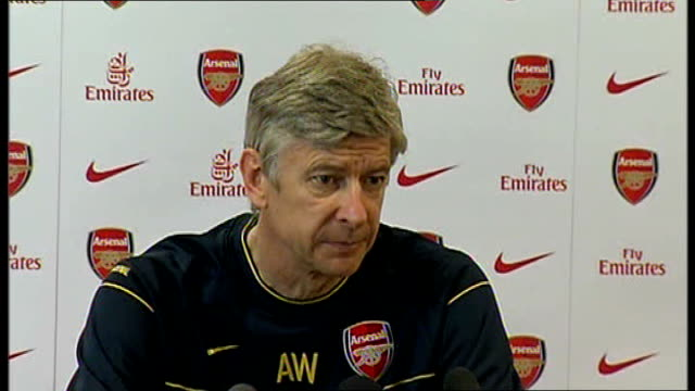 Arsenal Wenger press conference ENGLAND London Emirates Stadium INT Arsene Wenger press conference SOT Talks about injuries ahead of the...