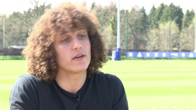 Chelsea defender David Luiz interview Premier League Chelsea defender David Luiz interview ENGLAND Surrey Cobham EXT David Luiz interview SOT