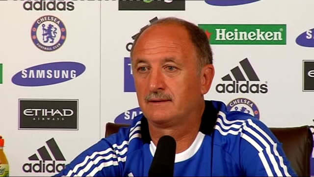 chelsea fc press conference scolari press conference sot manchester city offered him the job of manager in summer / at that time was manager of... - peter scolari stock videos & royalty-free footage