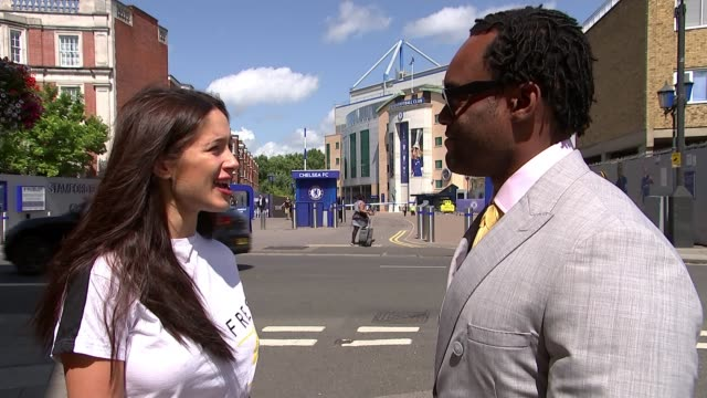 chelsea prepare for opening match of season against manchester united england london chelsea stamford bridge ext vox pop sophie rose interview sot... - hanging stock videos & royalty-free footage