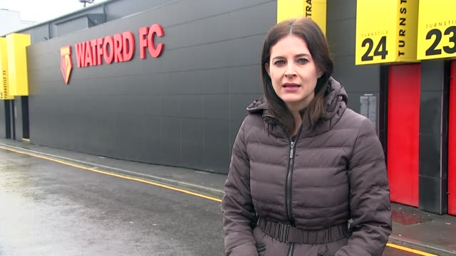 Premier League clubs accused of failing to improve access for disabled fans Vicarage Road Reporter to camera Van along past Watford FC stadium INT...
