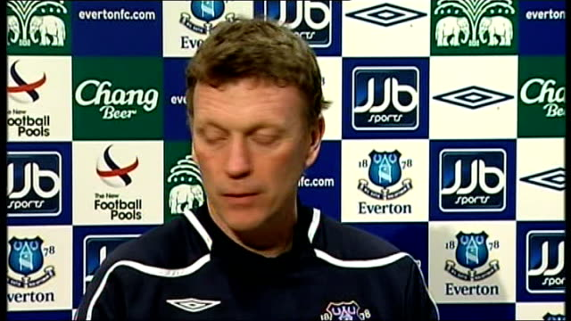Everton David Moyes walks out of press conference ENGLAND Liverpool INT David Moyes press conference SOT Claims Victor Anichebe is not in Everton...