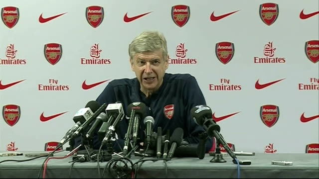 preview england hertfordshire colney ext arsene wenger press conference sot we have been 128 day top of the league so we won the stamina league but... - schlußtag stock-videos und b-roll-filmmaterial