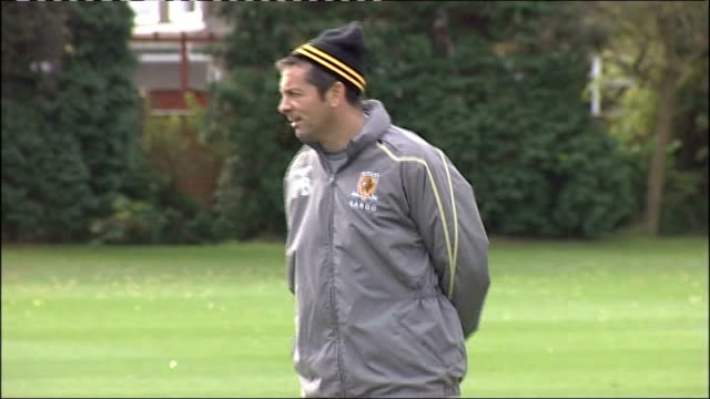 hull city squad training england yorkshire cottingham hull city training ground ext phil brown watching his squad training closeup of dean windass... - dawson city stock videos and b-roll footage