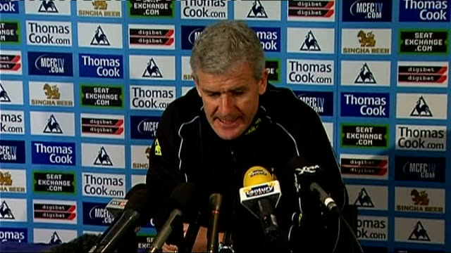 manchester city press conference mark hughes england manchester int press conference setups mark hughes press conference sot goes through injury news... - middlesbrough stock videos and b-roll footage