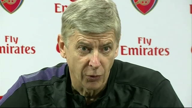 premier league matches london int arsene wenger press conference sot re forthcoming arsenal v spurs premiership match - itv weekend lunchtime news点の映像素材/bロール