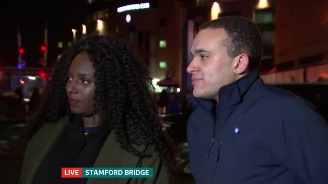 chelsea v arsenal build up england london stamford bridge pippa monique and dom rosso live interviews sot - rosso stock videos & royalty-free footage