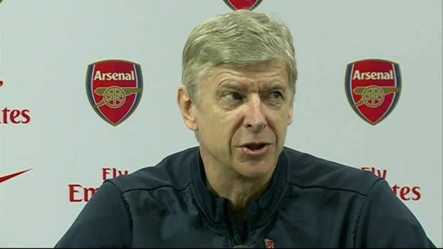 hertfordshire london colney int arsene wenger press conference sot talks of the game against manchester united being more peaceful and serene - itv weekend lunchtime news点の映像素材/bロール