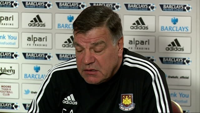 premier league matches; int sam allardyce press conferenc sot - sam west stock videos & royalty-free footage