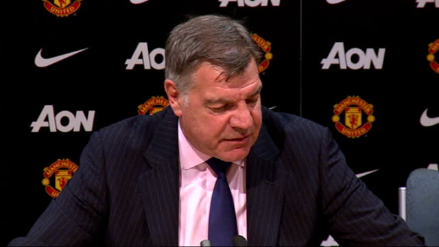premier league matches; int sam allardyce press conference sot - i thought it was onside - sam west stock videos & royalty-free footage