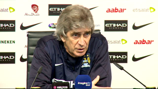 premier league matches via reuters int manuel pellegrini press conference sot premier league will be very close with many fighting for title maybe... - reuters stock videos & royalty-free footage