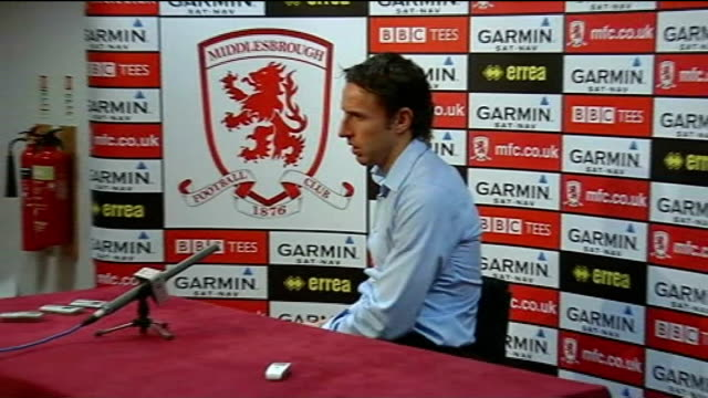 Middlesbrough tranfer speculation Gareth Southgate seated at press conference