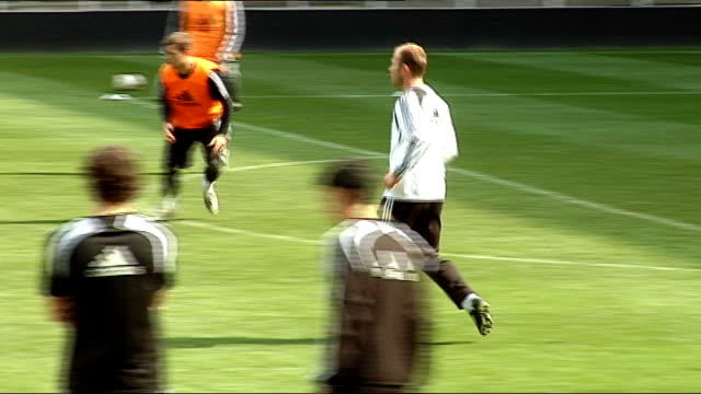 newcastle united training session; more of shearer playing football shots of fans - torschuss stock-videos und b-roll-filmmaterial