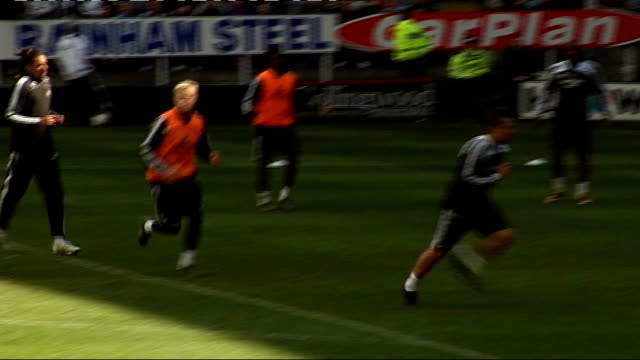 newcastle united training session; more of shearer playing football owen playing football generic training shots more of duff - torschuss stock-videos und b-roll-filmmaterial