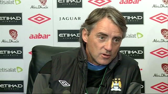 manchester int roberto mancini press conference on injury to sergio aguero sot - itv weekend lunchtime news点の映像素材/bロール