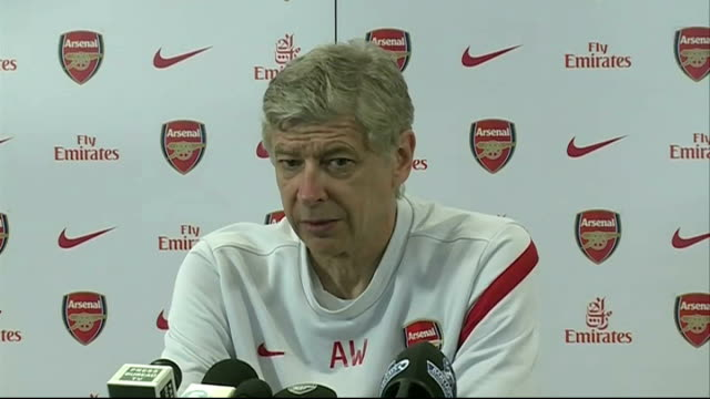 arsene wenger press conference on match v qpr sot - itv weekend lunchtime news点の映像素材/bロール