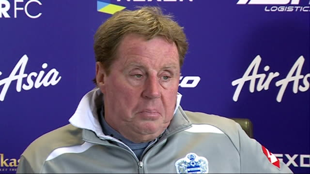 queens park rangers prepare to face wigan england london int harry redknapp press conference sot - ハリー レッドナップ点の映像素材/bロール