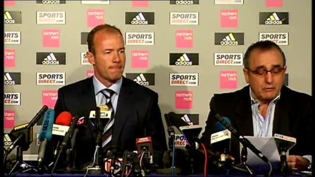 shearer unveiled as newcastle manager shearer enters press conference england newcastle st james's park int alan shearer iain dowie and derek... - executive director stock videos & royalty-free footage