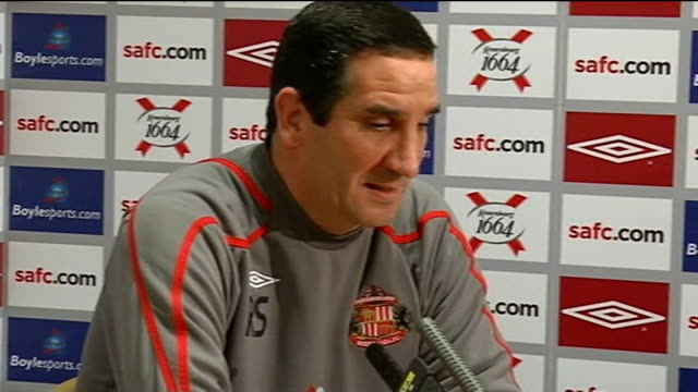 Sunderland Ricky Sbragia press conference ENGLAND Sunderland INT Ricky Sbragia press conference Not interested in selling his best players / Kenwyne...