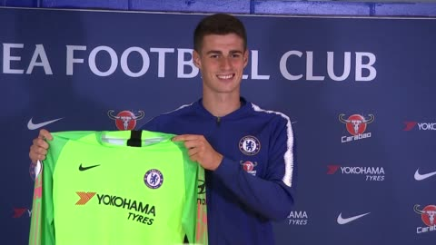 transfer deadline day; uk, london: kepa arrizabalaga posing with chelsea jersey and press conference. england: london: int kepa arrizabalaga along... - exchanging stock videos & royalty-free footage