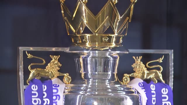 transfer window to close before start of season london int close shots of premier league trophy wioth 'premier league' ribbons - transfer stock videos and b-roll footage