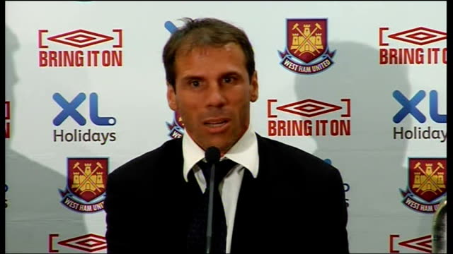 West Ham United Gianfranco Zola unveiled as manager Zola press conference SOT Enjoyed seven wonderful years at Chelsea in time he will never forget /...