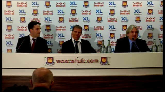 West Ham United Gianfranco Zola unveiled as manager INT Mike Lee press conference SOT Introduces press conference and Zola Scott Duxbury press...